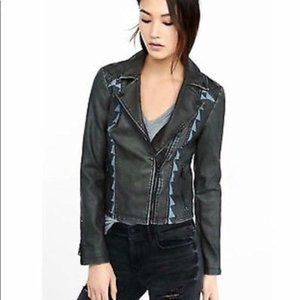 Express faux leather embroidered moto jacket Large